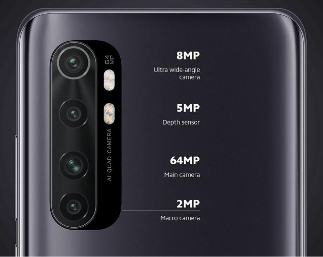 گوشی شیائومی می نوت 10 لایت دارای دوربین 4 گانه  64، 8، 2، 5 مگاپیکسلی در قاب پشتی