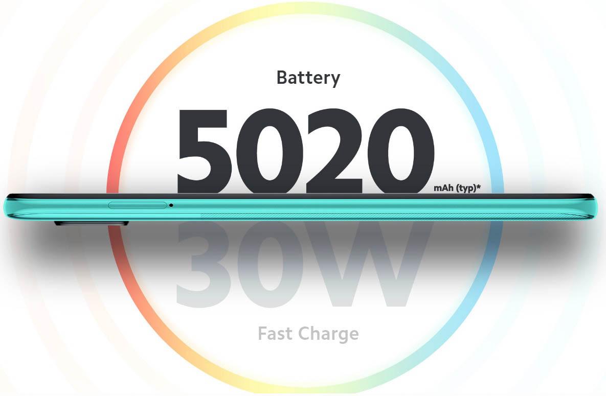 گوشی شیائومی نوت 9 پرو دارای باتری لیتیوم پلیمری 5020 میلی آمپر بر ساعت است که با قابلیت شارژ 30 واتی